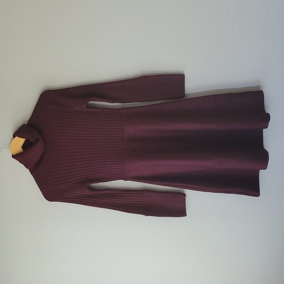 Eliza J Brown Long Sleeve Turtleneck Fit Flare Sweater Mini Dress Small